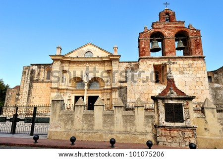 Cathedral of St. Mary of the Incarnation (Cathedral of Santa Maria la Menor) in Santo Domingo, the oldest cathedral in the Americas - stock photo