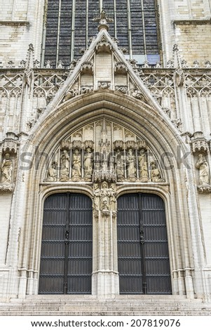 Cathedral of St. Michael and St. Gudula - Roman Catholic church on the Treurenberg Hill in Brussels, Belgium. Detail of the facade. - stock photo