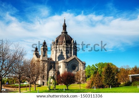 Cathedral of St. Paul, Minnesota in the morning - stock photo