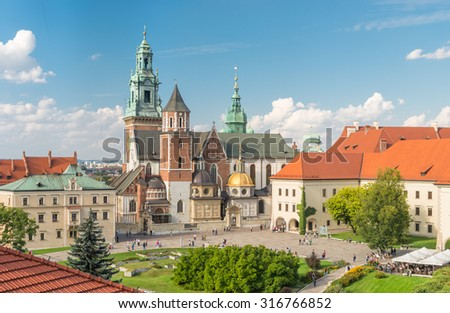 Cathedral of St Stanislaw and St Vaclav and royal castle on the Wawel Hill, Krakow, Poland on sunny afternoon