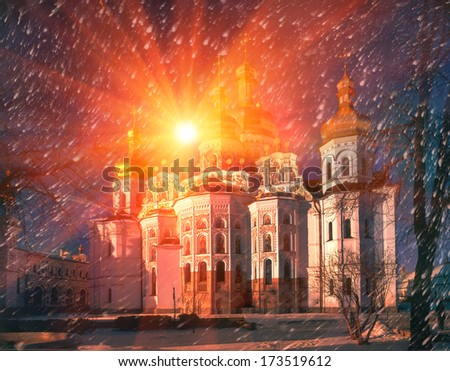 "Cathedral of the Assumption of the Blessed Virgin Mary  ""Great Church"" - main cathedral church of the Kiev-Pechersk Lavra, ""bogosozdanny"" the prototype of all the monastic churches of ancient Russia, - stock photo"