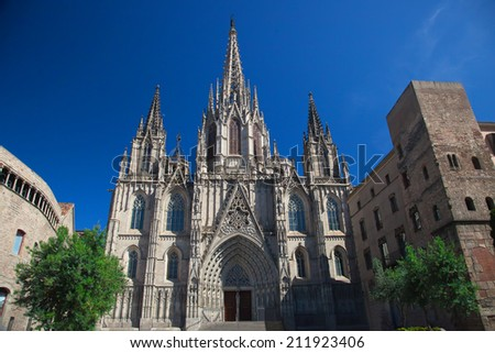 Cathedral of the Holy Cross and Saint Eulalia is in the heart of Barri Gotic (Gothic Quarter) of Barcelona, Spain  - stock photo