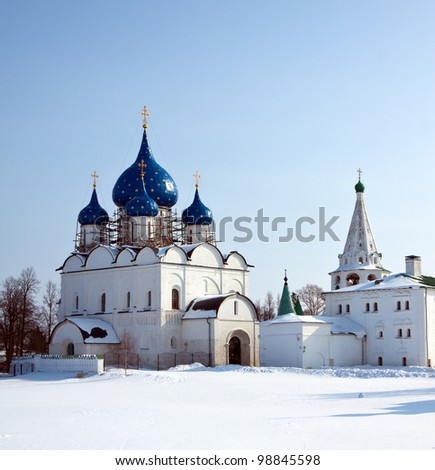 Cathedral of the Nativity at Suzdal in winter. Russia