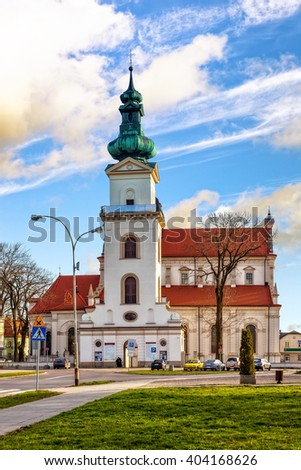 Cathedral of the Resurrection and St. Thomas the Apostle in Zamosc, Poland. - stock photo