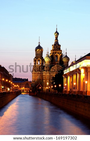 Cathedral of the Resurrection on Spilled Blood (Church of Our Savior on the Spilled Blood) in St. Petersburg (Russia) at night - stock photo