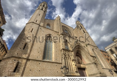 Cathedral of the Sea (Santa Maria del Mar) in Barcelona, Spain - stock photo