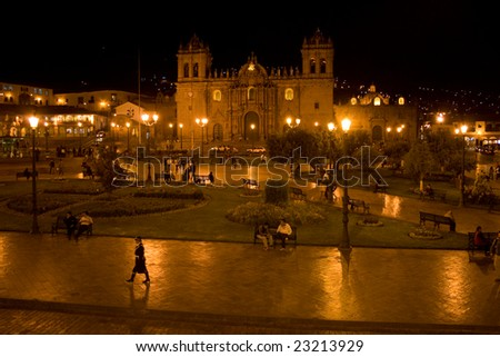 Cathedral on Main Square Plaza de Armas in Cuzco at night - stock photo