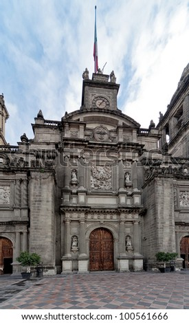 Cathedral on Zocalo in the Mexico City - stock photo