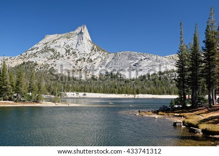 Cathedral Peak and Cathedral Lake.  Sierra Nevada, Yosemite National Park, California - stock photo