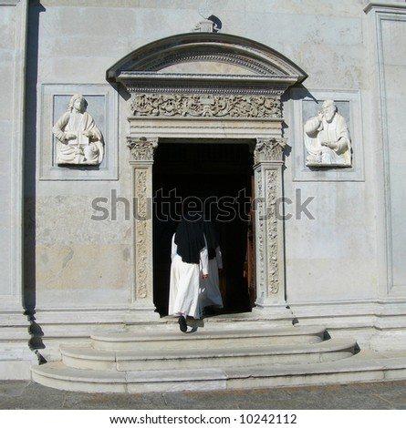Cathedral portal in the city of Lugano Switzerland - stock photo