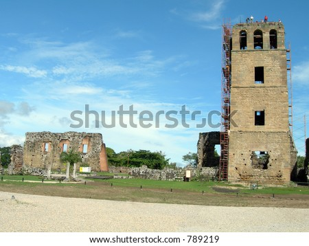 cathedral reconstruction viejo (old) panama central america - stock photo