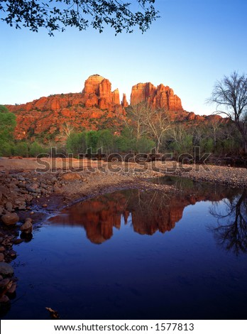 Cathedral Rock and Oak Creek, in the Coconino National Forest, near Sedona, Arizona. - stock photo