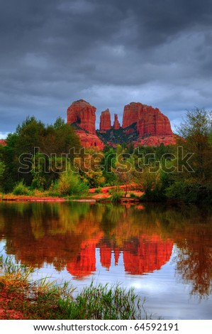 Cathedral rock and oak creek Sedona Arizona - stock photo