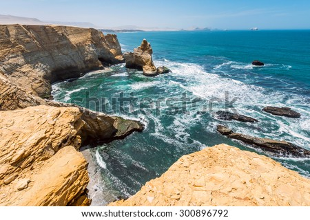 Cathedral Rock Formation, Peruvian Coastline, Rock formations at the coast, Paracas National Reserve, Paracas, Ica Region, Peru - stock photo