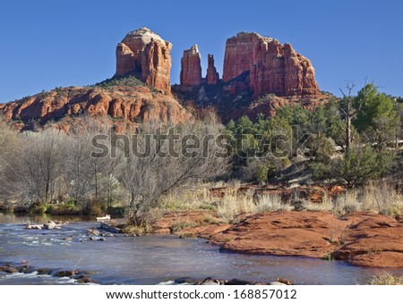 Cathedral Rock in Coconino National Forest in Arizona photographed from Red Rock Crossing on Oak Creek in winter. - stock photo