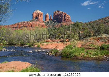 Cathedral Rock In Sedona Arizona Viewed From Red Rock Crossing Along Oak Creek Canyon - stock photo