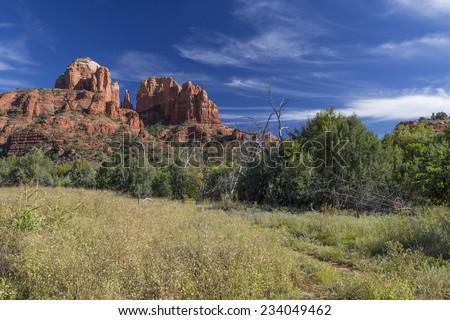 Cathedral Rocks over Oak Creek Canyon in Sedona Arizona. - stock photo