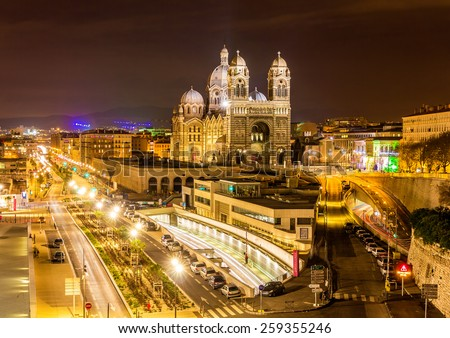 Cathedral Sainte-Marie-Majeure of Marseille - France - stock photo