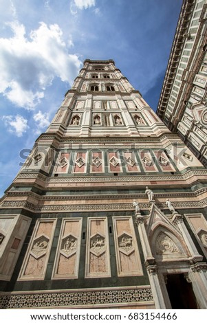 Cathedral Santa Maria del Fiore (Duomo) and Giottos bell tower (campanile), Florence, Italy