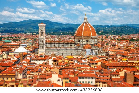 Cathedral santa maria del fiore in florence view to old town with red tegular roofs - stock photo