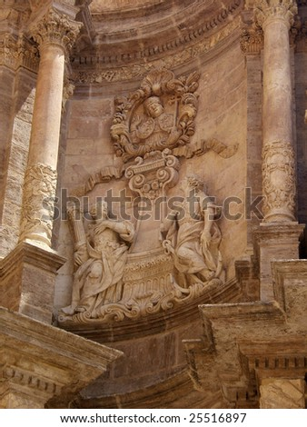 Cathedral sculptures, Valencia - stock photo