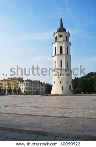 Cathedral Square in Vilnius, bell tower, Katedra - stock photo