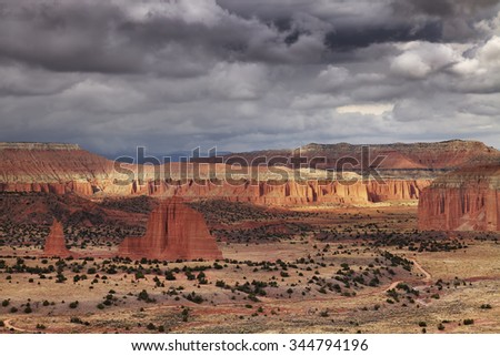 Cathedral Valley, Capitol Reef national park, Utah, USA - stock photo