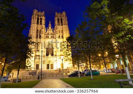 Cathedrale des Saints Michel et Gudule during night in Brussels, Belgium - stock photo