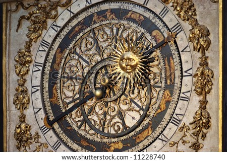 Cathedrale St.Jean in Lyon has a 14 th-century astronomical clock that shows religious feast days till the year 2019. - stock photo