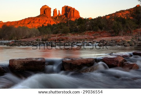 Catherdral Rock and Oak creek - stock photo