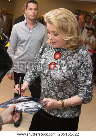 Catherine Deneuve attends the 'La Tete Haute' ('Standing Tall') photocall during the 68th annual Cannes Film Festival on May 13, 2015 in Cannes, France. - stock photo