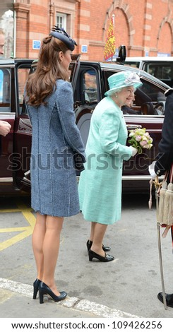 Catherine Duchess of Cambridge and Queen Elizabeth II arrive in Nottingham during the Royal Jubilee Tour. Nottingham, UK. June 13, 2012, Nottingham, UK Picture: Catchlight Media / Featureflash - stock photo