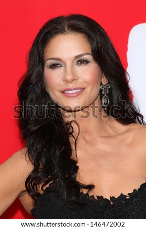 "Catherine Zeta-Jones at the premiere of Summit Entertainment's ""RED 2,"" Village Theater, Westwood, CA 07-11-13 - stock photo"