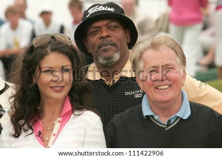 Catherine Zeta-Jones with Samuel L. Jackson and Martin Sheen at The 9th Annual Michael Douglas and Friends Celebrity Golf Event. Trump National Golf Club, Rancho Palos Verdes, CA. 04-29-07 - stock photo