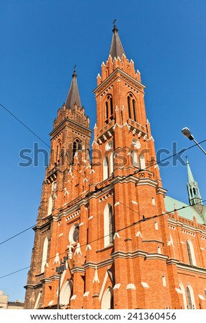 Catholic Basilica of the Dormition of Blessed Virgin Mary (circa 1897) in Lodz, Poland. Architect Konstanty Wojciechowski - stock photo