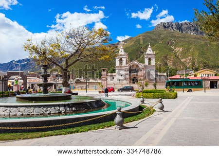 Catholic cathedral in Chivay city, southern Peru - stock photo