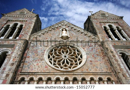 Catholic Church in Bassaterre, the capital of St. Kitts in the West Indies - stock photo