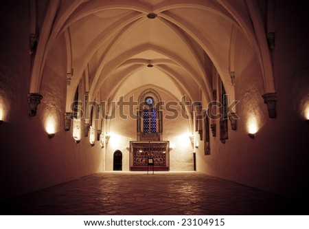 Catholic church in old monastery. - stock photo