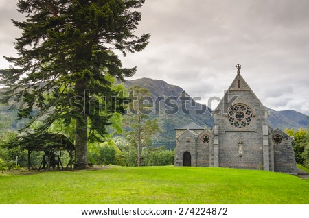 Catholic church of St. Maty & St. Finnan in Glenfinnan, Scotland at evening time