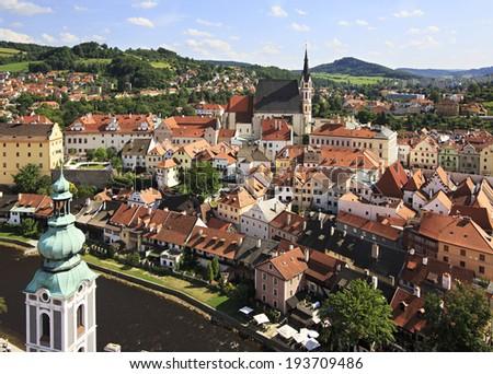 Catholic church of St. Vitus (Cesky Krumlov) in the Czech Republic.  - stock photo