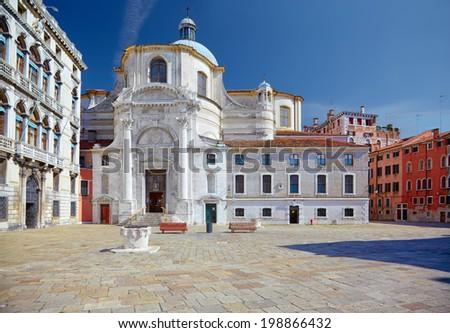 Catholic church San Geremia and Palazzo Labia in Venice, Italy - stock photo