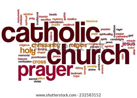 Catholic church word cloud concept - stock photo