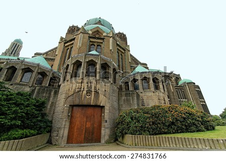 Catholic Minor Basilica and parish church in Brussels. Basilica ranks fifth among world's largest churches. Belgium. - stock photo