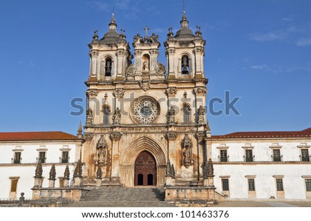 Catholic monastery and cathedral in the small city of Alkobasa. Facade ornaments. Portugal - stock photo