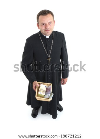 Catholic priest with collection plate full of euro banknotes - stock photo
