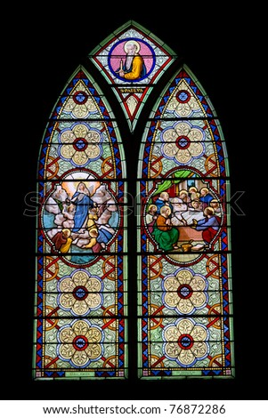 Catholic stained glass at Holy Rosary Church, Bangkok, Thailand - stock photo