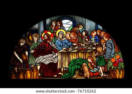 Catholic stained glass at Santa Cruz church, Bangkok, Thailand - stock photo