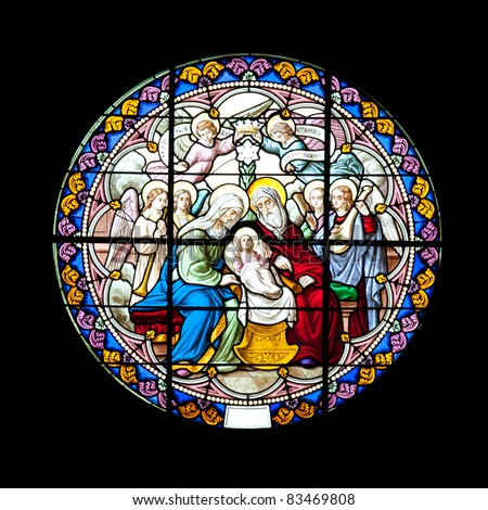 Catholic stained glass (The Nativity of Our Lady Cathedral), Samutsongkhram Province, Thailand - stock photo