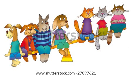 cats and dogs sits on a seesaw on a white background