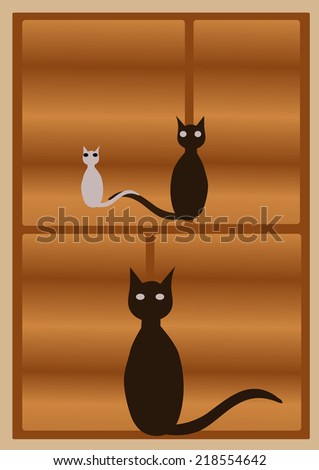 Cats illustration - stock photo